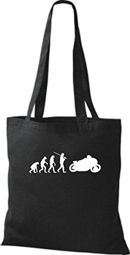 ShirtInStyle Stoffbeutel Jute Evolution Motorrad Biken Stunt Freebike Biker diverse Farbe schwarz