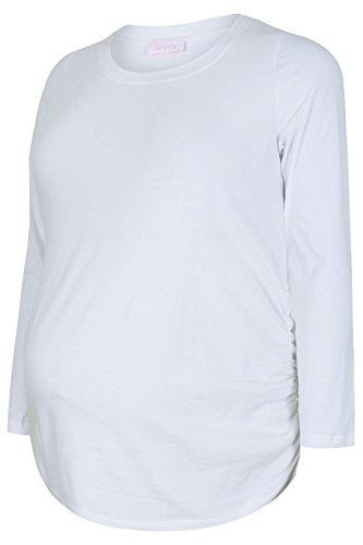 yoursclothing Plus Taille Femme Bump it Up Maternité Coton à Manches Longues Blanc - Blanc