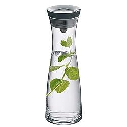 WMF Basic Wasserkaraffe, 1,0l, Höhe 29 cm, Glas-Karaffe, Silikondeckel, CloseUp-Verschluss, silber