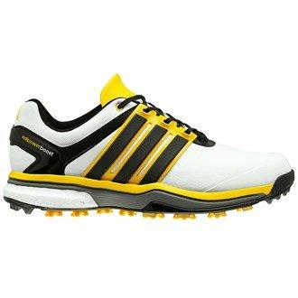 adidas Adipower Boost Golf Schuhe Weiß/Core Black/Bright Yellow, Herren, White/Black/Yellow