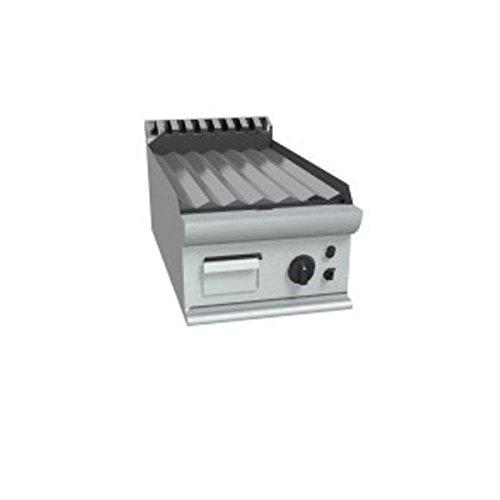 Fry Top à gaz à meuler Plaque rayée en acier douce poli – Dim. CM 40 x 70 x 27H