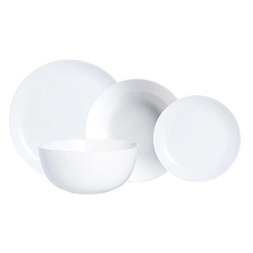Luminarc Vajilla Barata Redonda 19 Piezas Modelo Diwali Combinadas, Vidrio Opal, Blanco