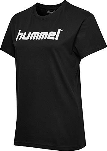 Hummel Damen HMLGO COTTON LOGO T-shirts, Schwarz, XL