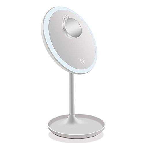 Cxhmy specchio per trucco specchio per trucco vanità illuminato a led con specchio ingrandimento 5x specchio da tavolo ricaricabile usb touch control 360 & deg; illuminazione rotante specchio