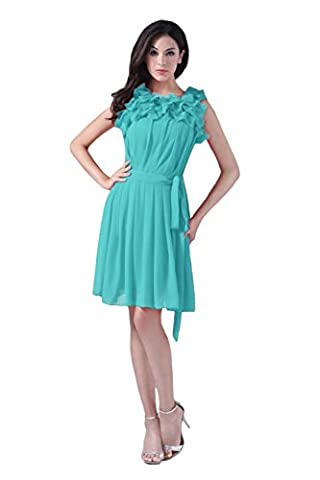 Bridal_Mall - Robe - Trapèze - Sans Manche - Femme - Turquoise - 44