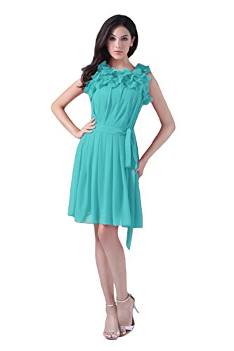Bridal_Mall - Robe - Trapèze - Sans Manche - Femme Turquoise - Turquoise
