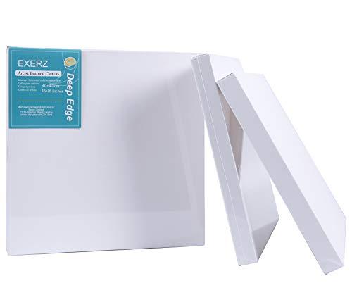 EXERZ Artista - Lienzo De Pintura Enmarcado, Paquete De 4 Bordes Profundos / 40 x40 CM 380GSM / Preestirado 100% Algodón/Blanco/Triple Imprimado/Sin Ácido/Grano Medio / 3,8 CM De Espesor