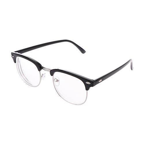 Hothap_Unisex Halber Rahmen Runden Felge Komfortabel Brille Kurzsichtig Kurzsichtigkeit Brillen Harz Löschen Linsen -1.0~-6.0 (Diese sind nicht Lesen Brille)