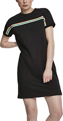 Urban Classics Damen Kleid Ladies Multicolor Taped Terry Dress, Schwarz,Größe: XL
