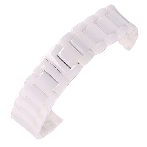 AUTULET Herren Edelstahl Uhrarmband Weiß 20mm (Ersatz Herren Weiß Uhrenarmband)