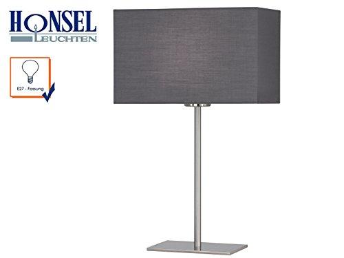Elegante Matt (Elegante Tischleuchte KEMPTEN, Nickel matt mit grauem eckigen Schirm, Höhe 43 cm, E27-Fassung)