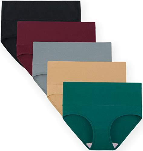 INNERSY Damen Unterhosen Hohe Taille Unterwäsche Baumwolle Taillenslip Bauchweg Höschen 5er Pack (XL-EU 44, 5H