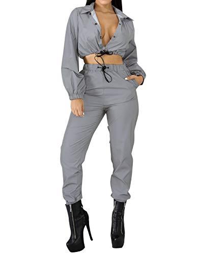 Eghunooye Frauen Sommer Casual Sport Bekleidung Reflektierende 2 Stück Sportjacke Reißverschluss Langarm Crop Top Jacke Mantel und Sport Bodycon Rock (2 Stück, XXL) -