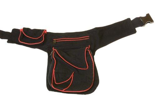 Goa spalla/marsupio marsupio cintura Hippie Psy bicolore, (nero/rosso), ca. 29 x 19 x 4 cm