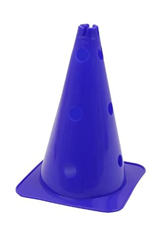 Large Hat Shaped Agility Cone with Pole Holes - 38 CM - Blue