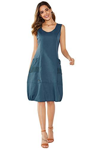 Yidarton Damen Kleider Strand Elegant Casual A-Linie Kleid Ärmellos Sommerkleider(Blau,L -