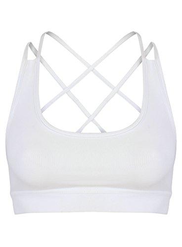 Femme Yoga Sport Gym Fitness Soutien-gorge Crop Soutien-gorge Stretch pour femme Blanc