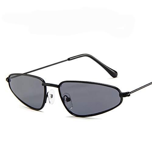 Xiton Katzenaugen-Sonnenbrille gespiegelt Flache Linsen Metallrahmen Sonnenbrille Vintage-Stil Brille (S, schwarz) -
