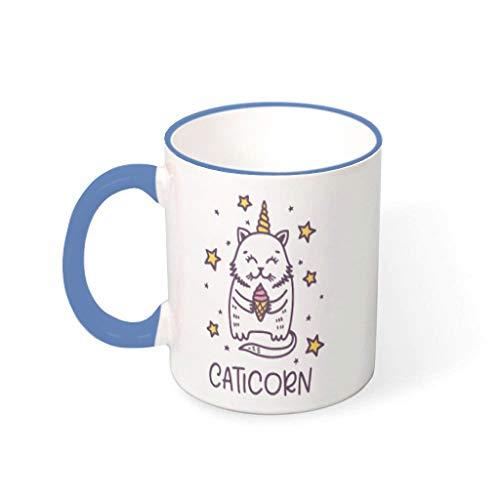 O4EC2-8 Getränke Kaffee Becher mit Griff Hochwertige Keramik Personal Becher - Animation Cat Halloween, Geeignet für Kinder verwenden 11 OZ Steel Blue 330ml