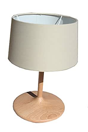 §§ Lampe de Table, Chevet, Bureau, Design Moderne. Hêtre massive, Bois. Abat Jour en Tissu Ecru