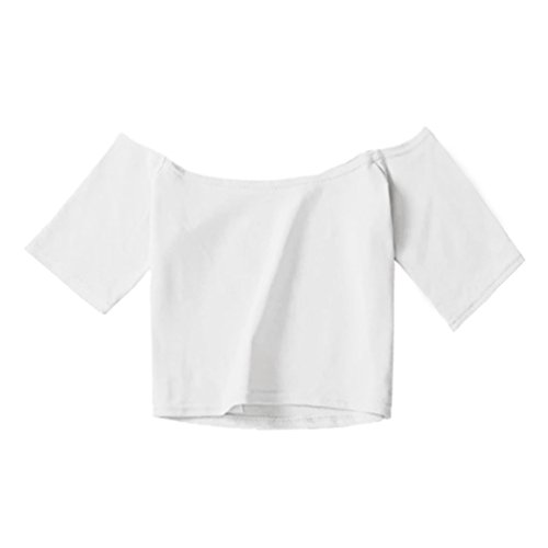 WanYang Estate Donne Casuale Estate Cime Maniche Corte Camicetta T-shirt a Manica Corta Maglietta di Spalla Fuori Bianca