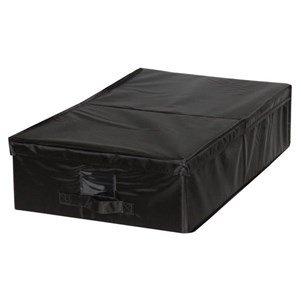 Mondex EVE714-01 Boîte de Rangement Sous Lit avec Porte Etiquette Modèle M Plastique/Tissu Noir 40 x 32 x 5 cm
