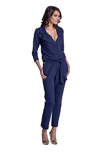Lemoniade eleganter Jumpsuit mit 3/4-Ärmel, elegantem Kragen und ausgefallener Schnürung an der Hüfte (L (40), Modell 2 Navy) -