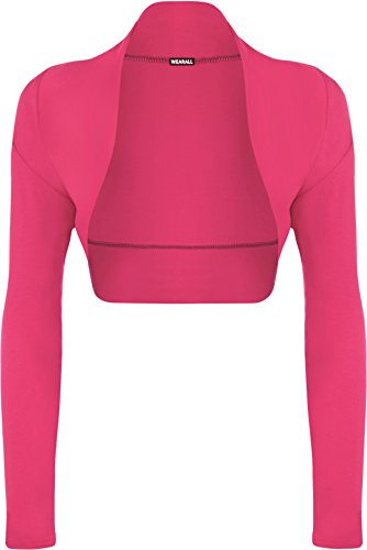 WearAll - Damen Bolero langarm Top - Cerise - 40-42 (Rock-star-damen-pink T-shirt)