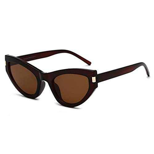 Yiph-Sunglass Sonnenbrillen Mode Polarisierte cat Eye Sonnenbrille für Frauen Sonnenbrille Damen Shades Sonnenbrille (Farbe : Tea Frame Tea Slice)