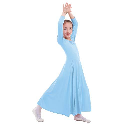 (IWEMEK Mädchen Liturgisches Lob Kleid Kinder Tanzkleid mit Langarm Ballettkleid Partykleid Gebet Kleid Falten Maxikleid Party Anbetung Kostüme Hellblau 7-8 Jahre)