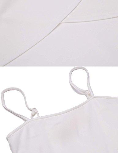 ACEVOG Damen Elegant Zweiteilig Spaghettiträger Kleid Spitze Langarm Bolero Asymmetrisch Kurz Abendkleider Partykleider Brautjungfernkleider Weiß