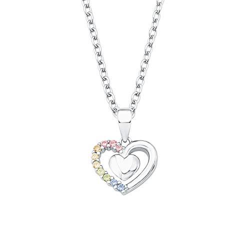 Mädchen-Halskette mit Herz-Anhänger mit bunten Zirkonia ()