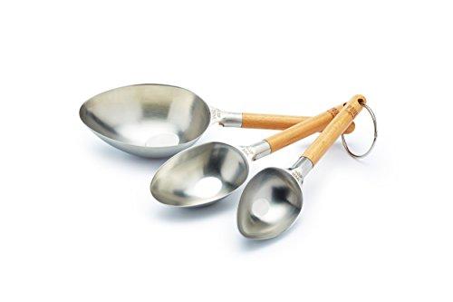 Cup Craft Kit (Kitchen Craft Messlöffel 3 Stück aus Edelstahl/Holz, Silber, 28 x 9 x 8 cm, 3)