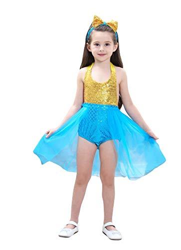 Prinzessin Kostüm Rosalina - Prinzessin Kleid mit Haarband 2-teilig - Kostüm für Kinder perfektes für Karneval & Cosplay (120cm-130cm, Blau)