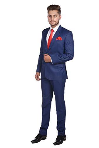 Ali Collection Men's Slim Fit Formal Two Piece Suit (Blue, 38)