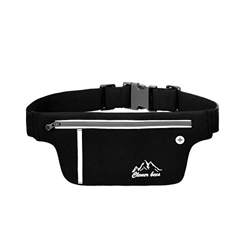 Gindoly Sport Hüfttasche Bauchtasche Gürteltasche leichte Wasserdichte Laufgürtel Lauftasche mit Kopfhöreranlass für Laufen, Wandern schwarz