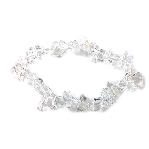 LLXXYY Stein Armband,Natürliche Edelstein Armband Stretch Chip Perlen Nuggets Granat Crystal Coral Quarz Armbänder Armreifen Für Frauen Weiß