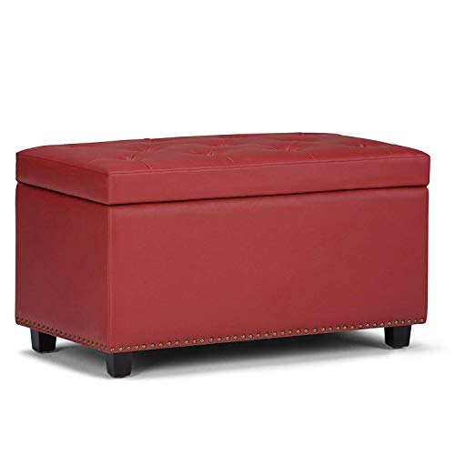 MODERN HOME 1 Seater Luper Tufted Storage Ottoman Pouffes with Storage Crimson Red Color Leather Standard Size