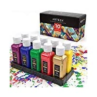 Arteza Permanent Fabric & Textile Paint, Set of 10 (60 ml) Individual Bottles, Vibrant Colors, Washer & Dryer Safe, for T-Shirts, Jeans, DIY Projects, Paper & Canvas