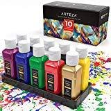 ARTEZA Pintura para tela | Juego de 10 frascos de 60 ml | Colores vibrantes | Apta para lavadora y secadora | Pintura permanente para camisetas, vaqueros, proyectos de bricolaje, papel y lienzo