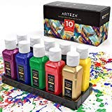 Arteza colore per tessuti e stoffa permanente indelebile, set da 10 (60ml) flaconi singoli, colori vivaci, sicuri in lavatrice ed asciugatrice, per magliette, jeans, progetti fai da te, carta e tela