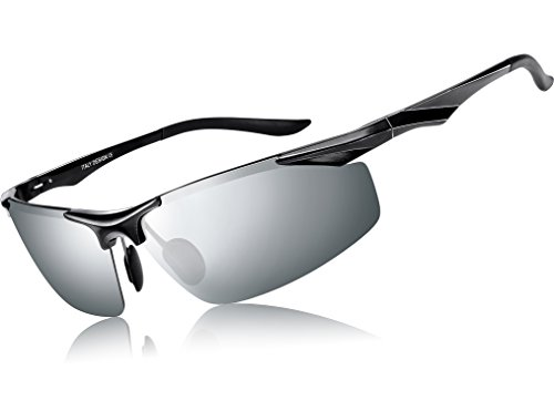 ATTCL Herren Polarisiert Metallrahmen Sonnenbrille herren Sportbrille 2206 BlackSilver