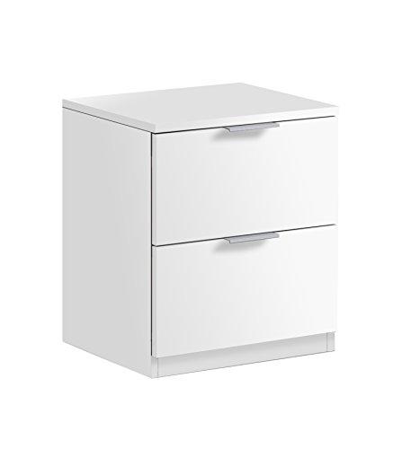 Habitdesign LC7820O - Mesita de Noche Color Blanco Mate, Medidas 45 x 38 x 34 cm de Fondo