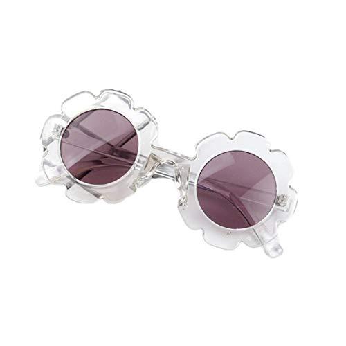 Eghunooye Kinder Baby Blume Rundes Anti-UV Sonnenbrille,Party Fotografie Strand Brillen Sonnenschutz Sunglasses Geschenk für Jungen und Mädchen (Transparent Weiß)