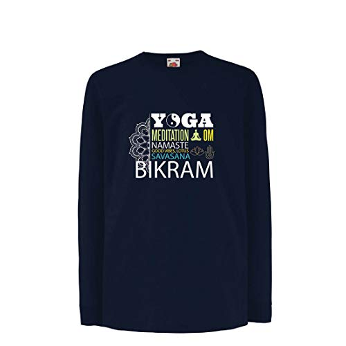 lepni.me Kinder-T-Shirt mit Langen Ärmeln Yoga Meditation Om Good Vibes Lotus Savasana Bikram (5-6 Years Blau - Bedeutung Zitate Von Halloween