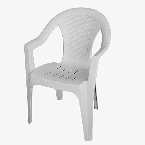 Produktabbildung von Papillon Stuhl Kunstharz Rattan Niedriger Rückenlehne Ischia, weiß