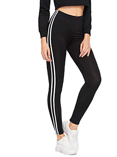 Shocknshop Casual Style Black White Side Stripe Ankle Lenth Middle Waist Elastic Leggings Women (LEG25)