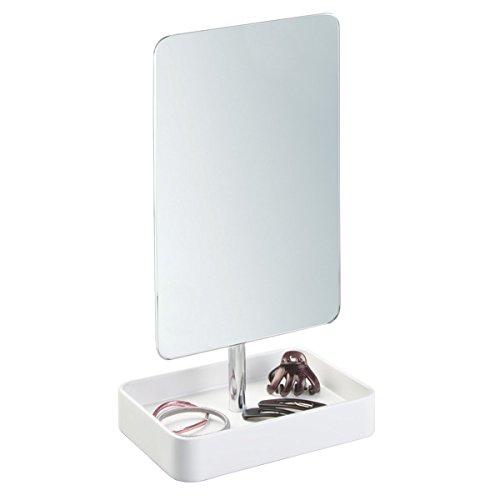 mDesign Schminkspiegel mit Ablage - weißer Spiegel freihstehend - Standspiegel (klein) mit Ablage für Kosmetik, Schmuck & sonstige Badaccessoires - Edelstahl mit mattem Finish