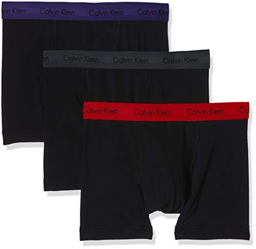 Calvin Klein Herren 3er Pack Trunk,Schwarz (B - M Red/S Blue/Charcoal H Wb Sxz),S