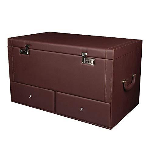 CONRAL Auto Kofferraum Aufbewahrungsbox mit Passwortsperre, Aufbewahrungsbox für Fahrzeuge, 2X Schubladen und Staubschutzdeckel, Aufbewahrungsboxen für Lebensmittel für Privatanwender,Bronze - Schublade Organisieren Behälter